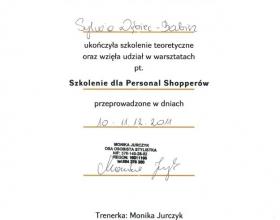 certyfikat Sylwia Dębiec-Babicz, personalstylist.pl